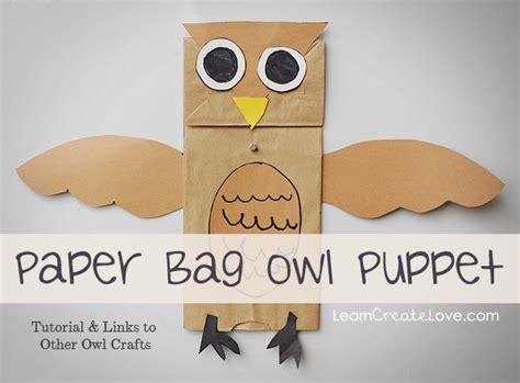 Paper Bag Owl Craft - paper bag owl puppet craft