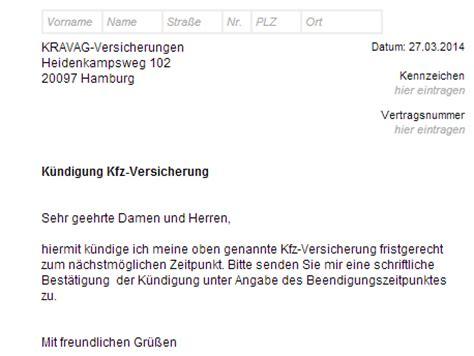 Kfz Versicherung K Ndigen Nach Glasschaden by Kravag Autoversicherung K 252 Ndigung Vorlage Download Chip