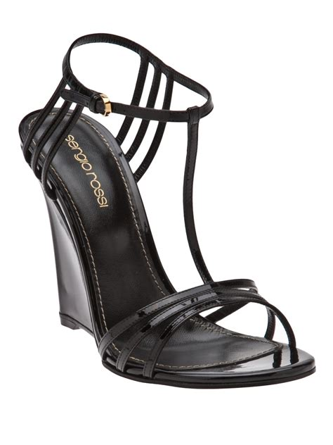 sergio strappy wedge sandals in black lyst
