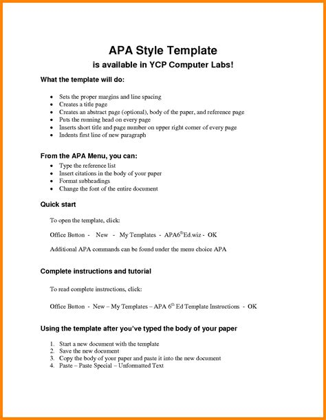 apa citation template apa format paper template resumes