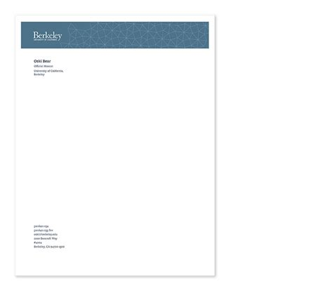 Berkeley College Letterhead Stationery Brand Guidelines Uc Front Berkeley School Of Information Unit Page Support Uc