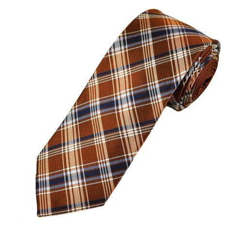 orange patterned ties orange blue white check patterned men s silk tie from