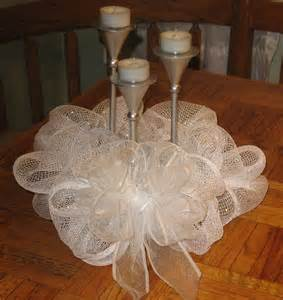 Deco mesh centerpiece white and silver diy pinterest