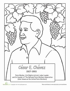 Cesar Chavez Worksheet Education Com Hispanic Heritage Month Coloring Pages