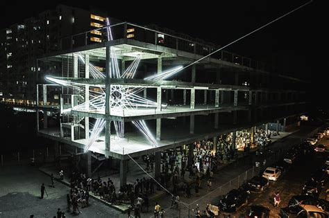 design art penang jun ong embeds five storey glowing star within unfinished