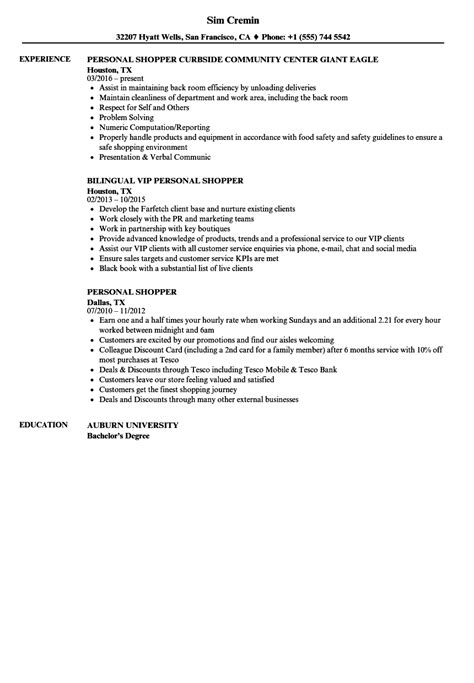 personal shopper resume samples velvet jobs