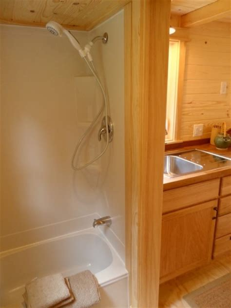 tiny house bathtub ynez tiny house on wheels by oregon cottage company