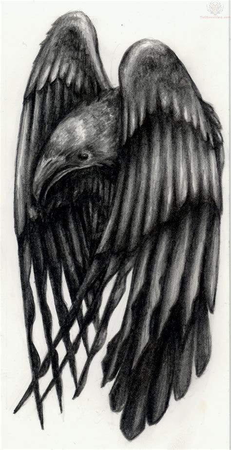 large wings raven tattoo