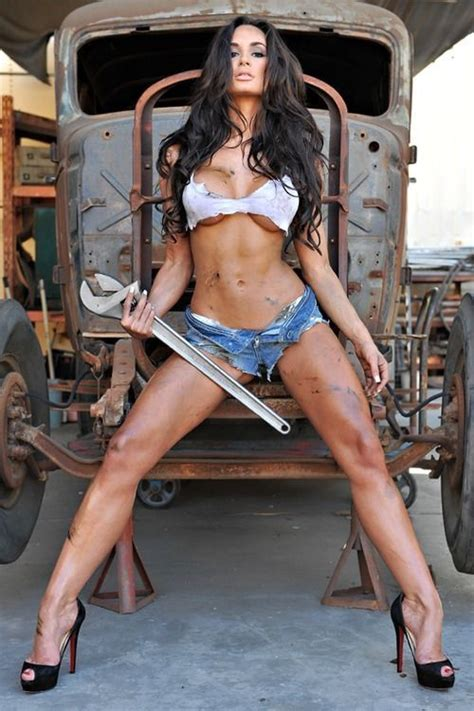 hot female mechanics hot female mechanic in unzipped denim shorts gears