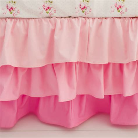 Pink Crib Bed Skirt Pink Ruffled Crib Skirt Baby Bedding Pink Nursery Skirt