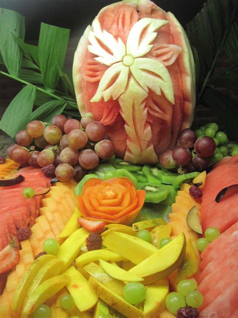 They Been Carving Melons Again by Fruit Display In Mexico The Way They Carved The