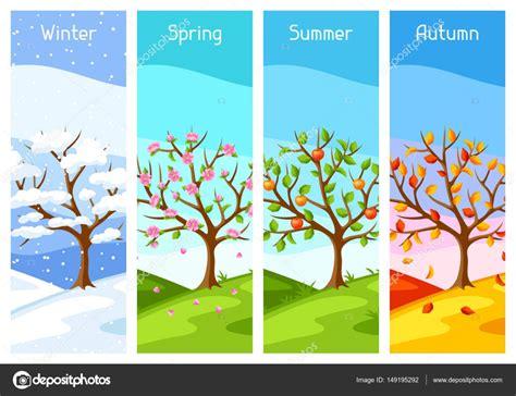 imagenes de invierno verano otoño y primavera cuatro estaciones del a 241 o ilustraci 243 n del 225 rbol y el