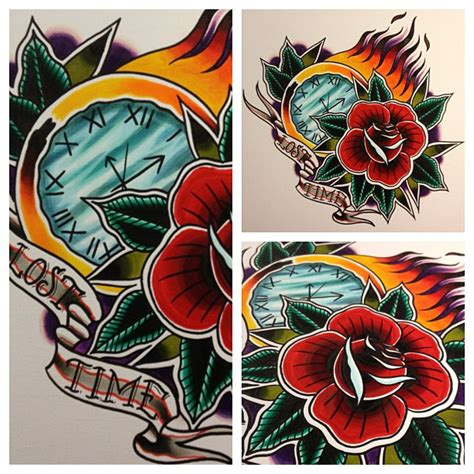 tattoo old school clock traditional clock and rose by jerrrroen on deviantart