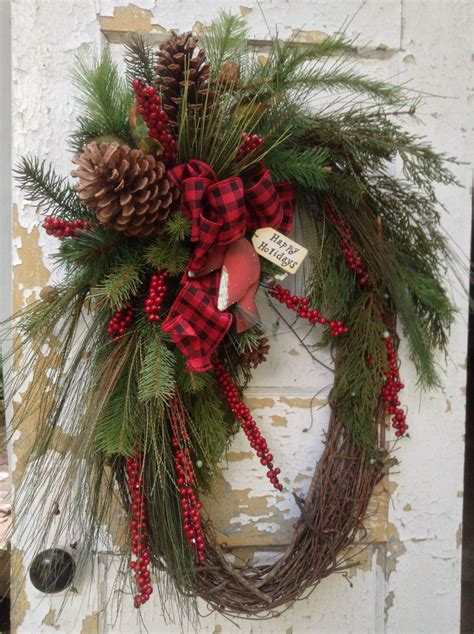 large christmas wreath rustic winter wreath primitive
