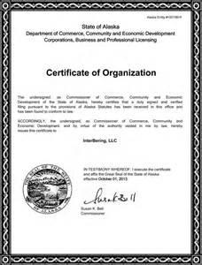 Interbering certificate of organization alaska entity 10015618
