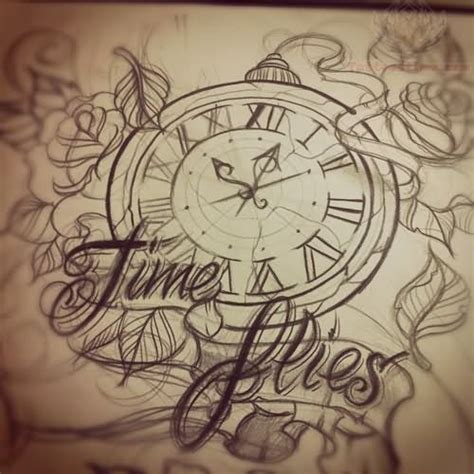time tattoos designs time flies clock design