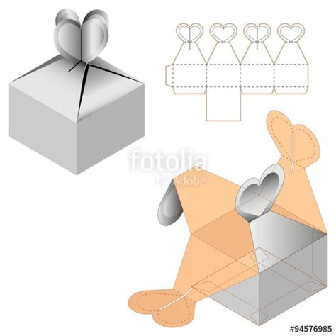 quot gift box packaging template white cardboard heart shaped