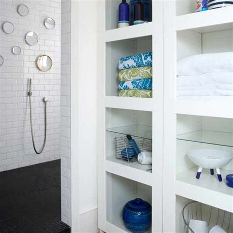built in bathroom storage shelves diy doin it
