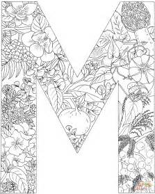 letter m coloring page letter m with plants coloring page free printable
