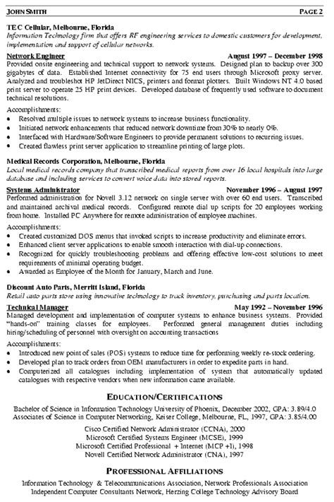Ccna Resume Sample by Network Engineer Resume Example