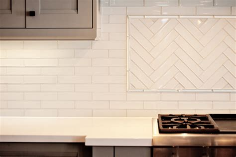 Backsplash With White Kitchen Cabinets by Herringbone Backsplash Contemporary Kitchen Benjamin