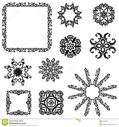 vintage floral design elements vector free download vector set of vintage floral pattern elements stock vector