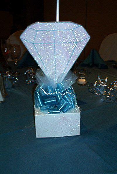 diamond centerpiece denim  diamonds birthday party