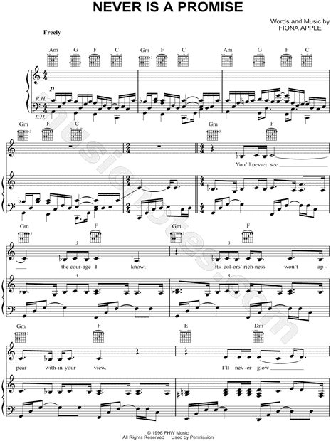 a promise film piano fiona apple quot never is a promise quot sheet music in a minor