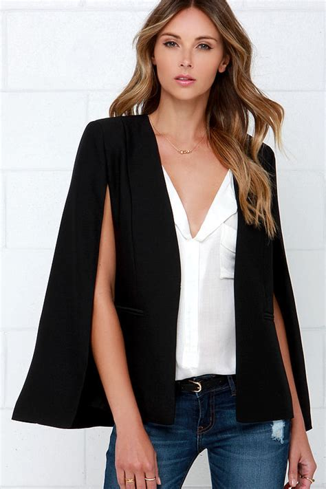 Cape Blazer Black Blazer Cape Sleeve Blazer Black Cape 91 00
