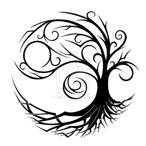 tribal tattoo tree tribal yin yang tree design