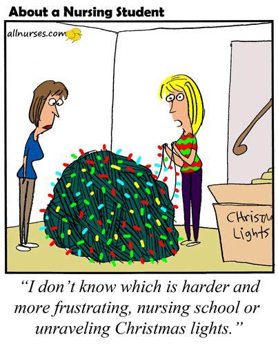 cartoon    frustrating christmas lights  nursing school cartoon  nurses