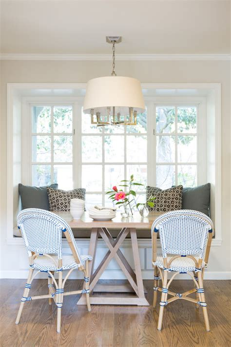 banquette window seat nook transitional dining room
