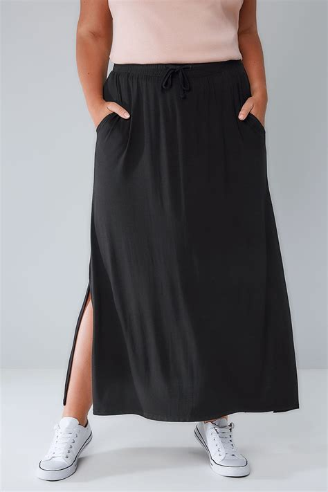 Jersey Pol Streamline Blue black pull on maxi skirt with side splits plus size 16 to 36