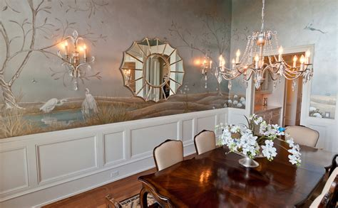 wall murals ideas dining room traditional with bird mural