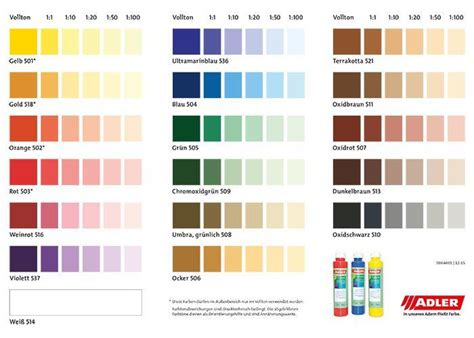 farben mischen tabelle wandfarben tabelle