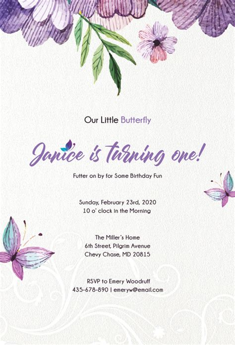 butterfly invitations  printable psd ai eps