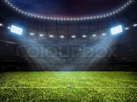 Malam Royalty Green sport concept background soccer footbal stadium with floodlights grass football pitch with