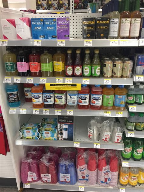 Shelf Of Condoms by This Walgreens Shelf Consisting Of Plan B Condoms Mixers Pedialyte A Breathalyzer And