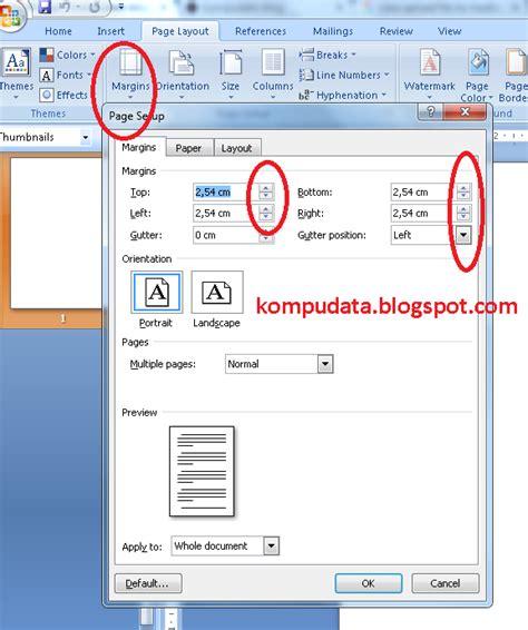 format margin artikel cara mengatur margin pada ms word