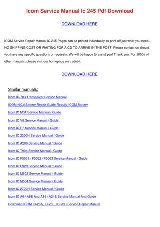 Icom Service Manual Ic 245 Pdf Download By Catalinabattle