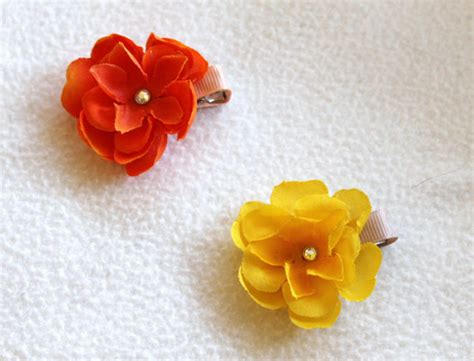 Yellow Hairclip Set orange and yellow flower hair clip set by cherryontoptots