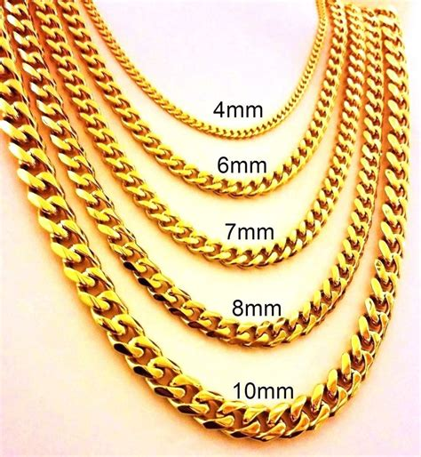 gold chain 18 quot 30 quot mens stainless steel 4mm 10mm 24k gold plated cuban link chain necklace ebay