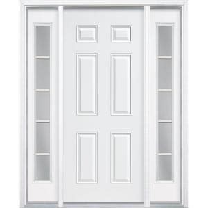 Home Depot Exterior Doors With Sidelights Masonite 60 In X 80 In Premium 6 Panel Primed Steel