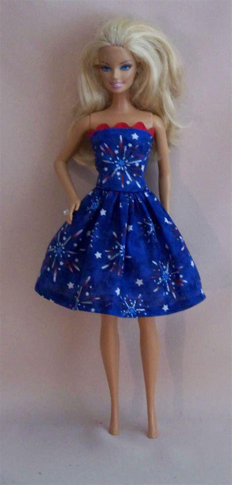 Handmade Doll Dresses - handmade doll clothes white blue dress