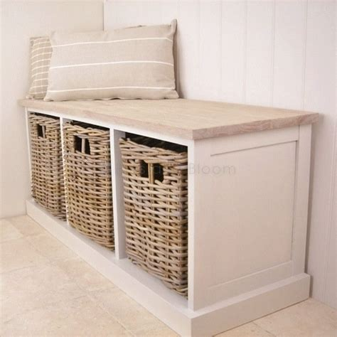 bench with storage underneath storage baskets under bench