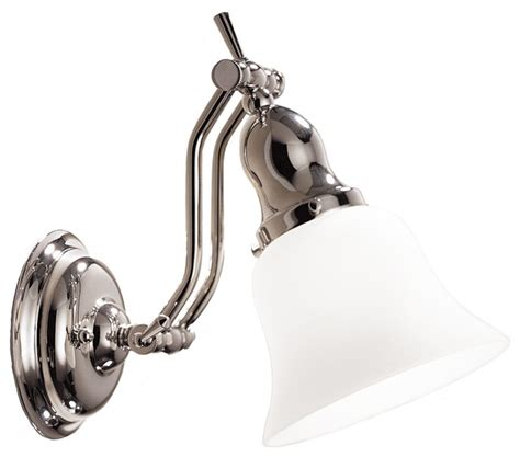 Adjustable Wall Sconce Polished Nickel And Opal Adjustable 17 Quot High Bath Sconce Traditional Wall Sconces By