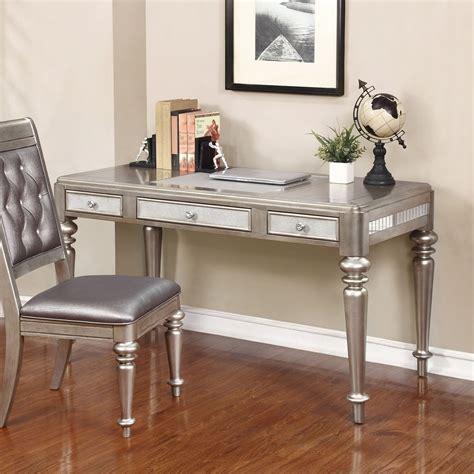 bling game vanity desk bling game metallic platinum writing desk from coaster