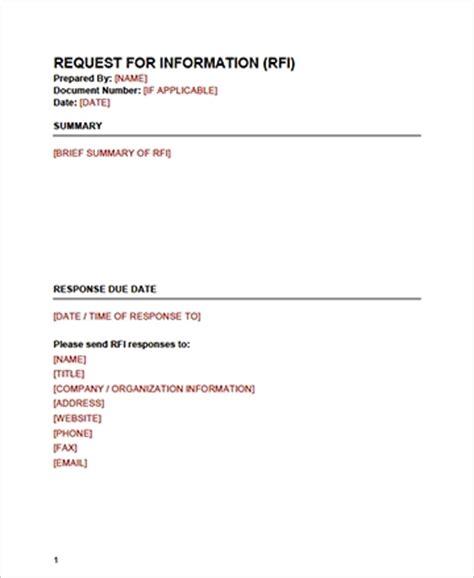 rfi response template rfi response template gallery template design ideas