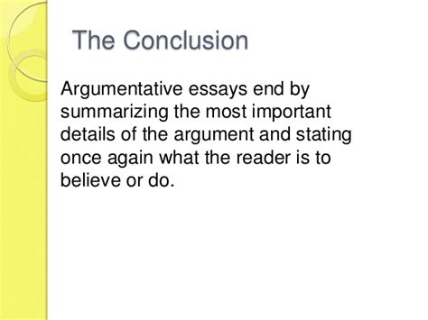 How To End A Persuasive Essay by The Argumentative Essay Review