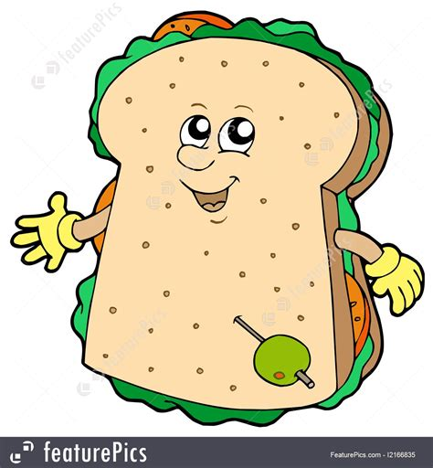 snacks  appetizers cartoon sandwich stock